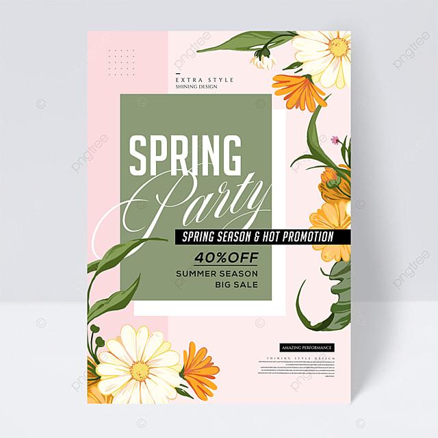 cartoon color spring party color block line flyer