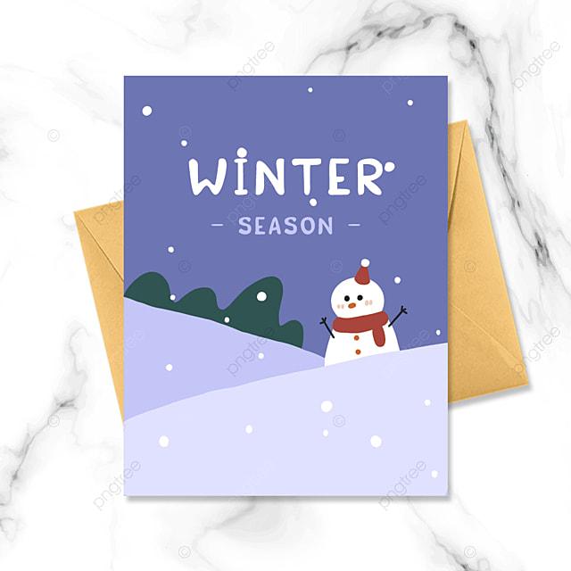 cartoon minimalistic winter card
