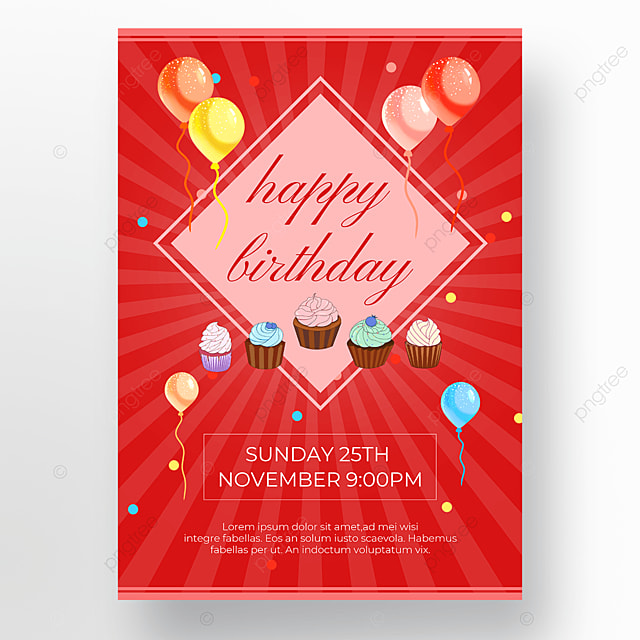 cartoon red background cake poster