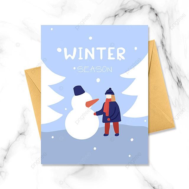 cold winter snowman cute card