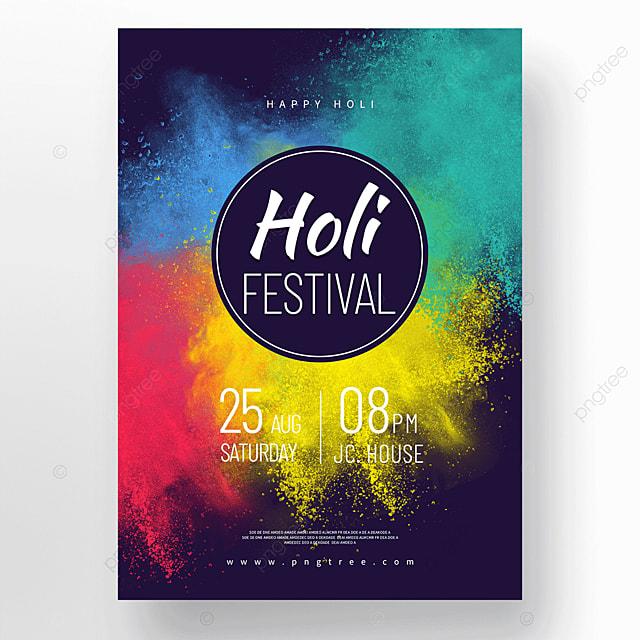 colorful powder holi festival holi festival poster
