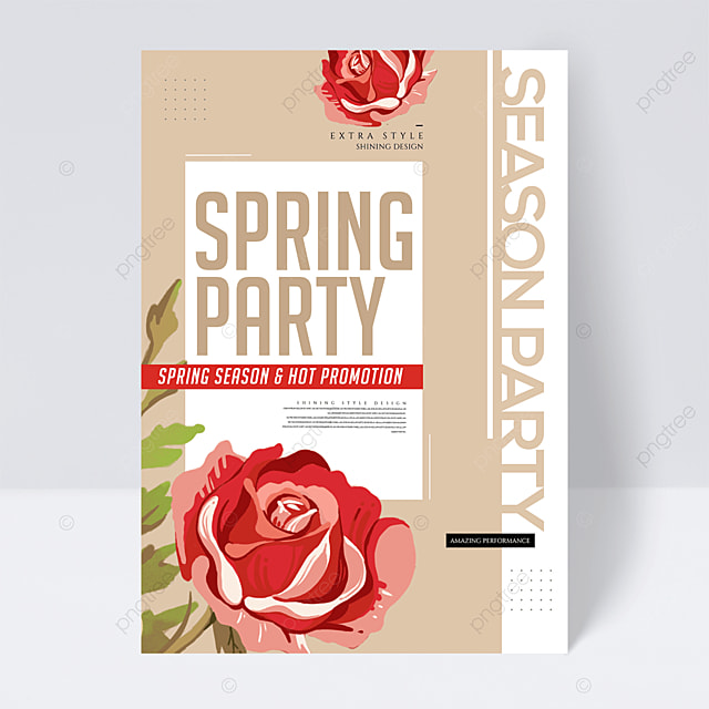 fashion creative color block line spring party flyer
