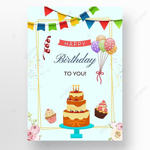 light blue background cake poster balloon