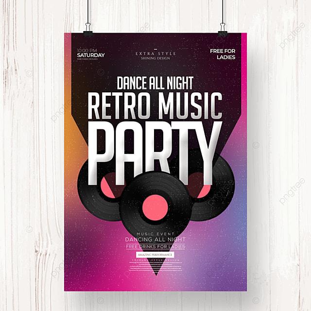 music party stylish minimalist retro poster