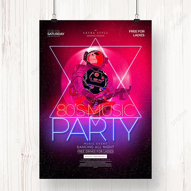 neon fashion retro color party poster