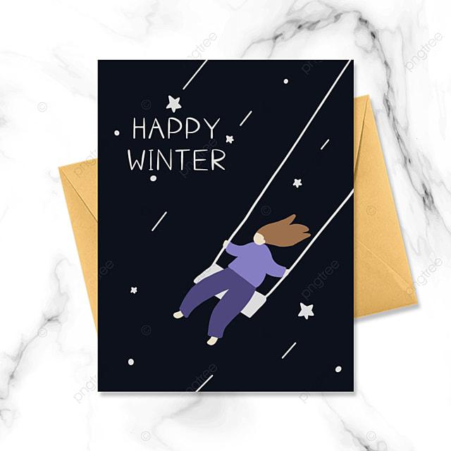 night cartoon character winter card