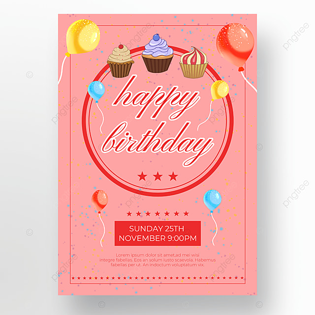 pink background cake poster