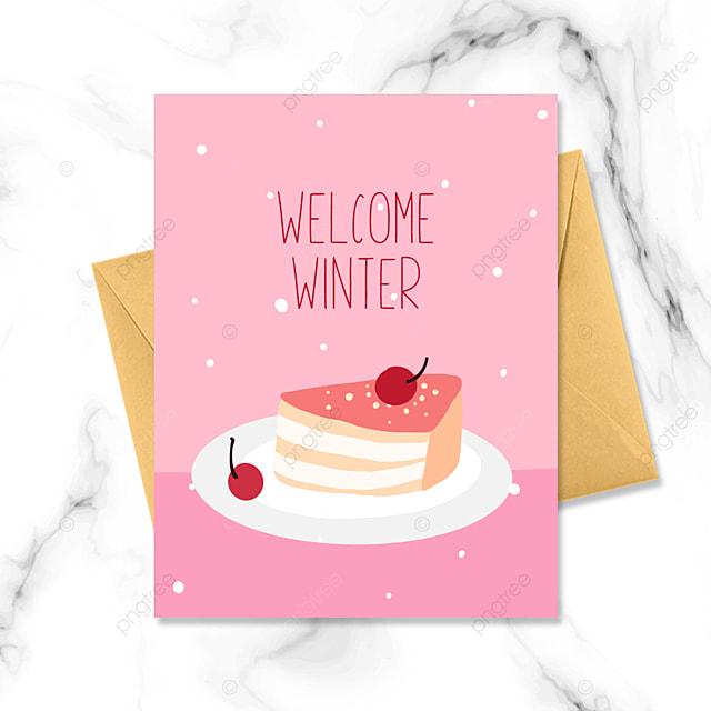 pink cartoon dessert winter card