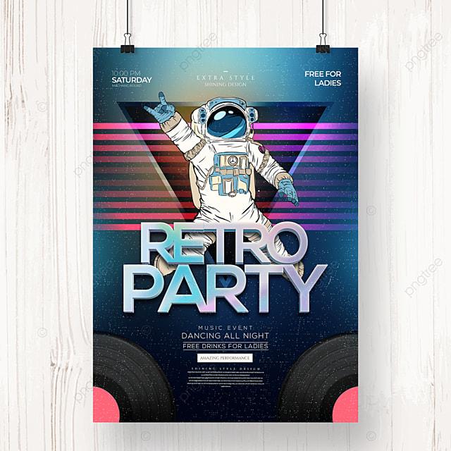 retro color gradient party poster