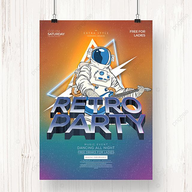 retro fashion color gradient party poster