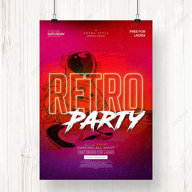 retro fashion color neon music party poster