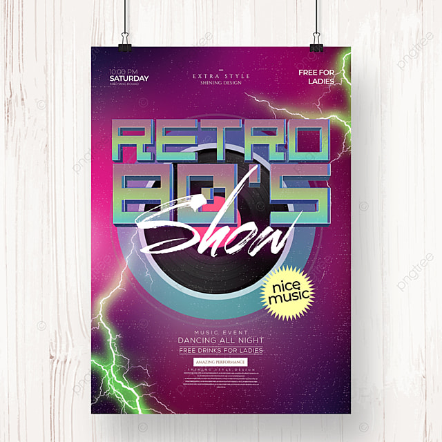 retro fashion color personality party poster