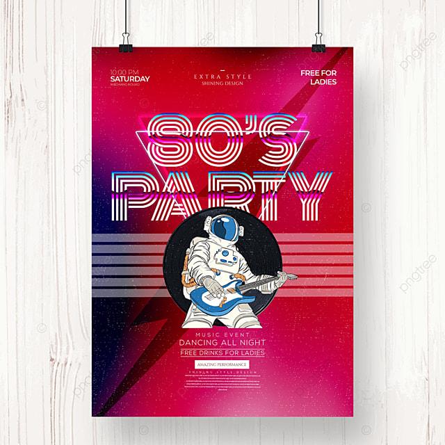 retro fashion music party color gradient poster