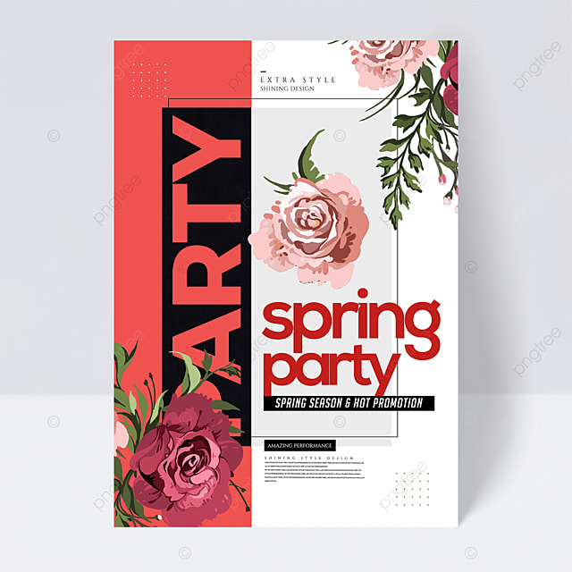 simple personality spring party flower flyer