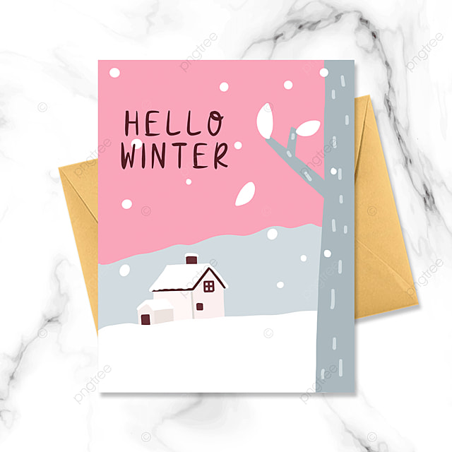 snowing simple card in forest hut