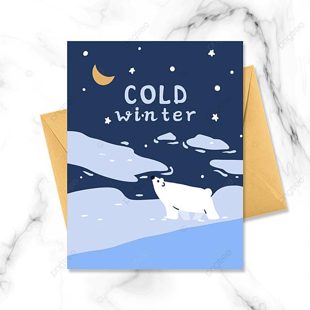 winter night cartoon small card