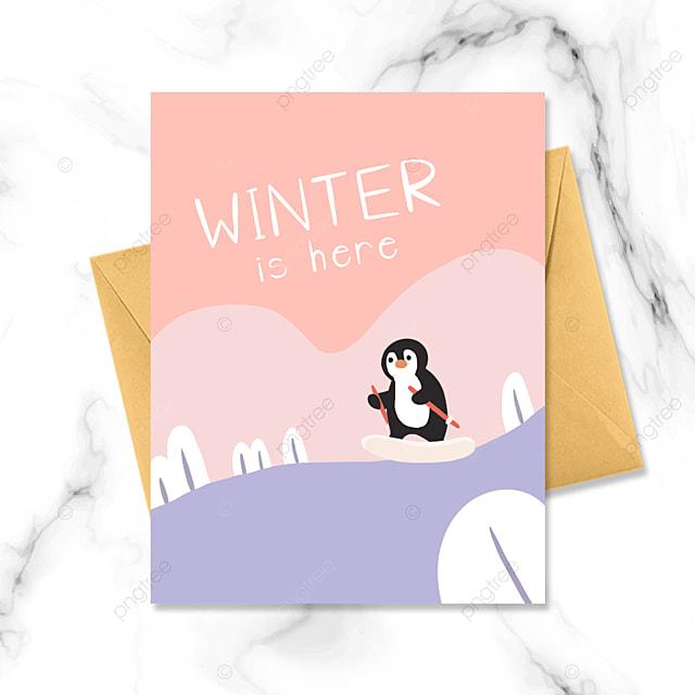 winter penguin skiing cartoon card