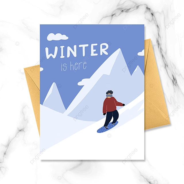winter ski simple card