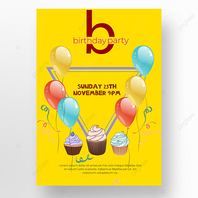 yellow background birthday balloon poster