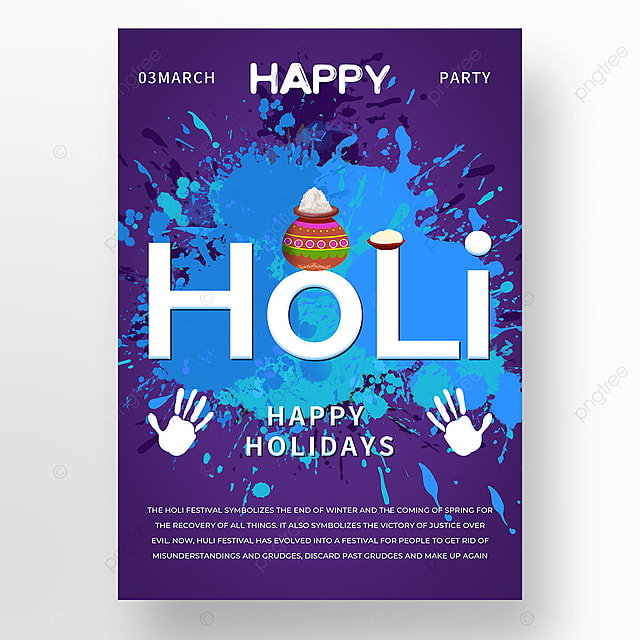blue colorful holi festival holi poster template