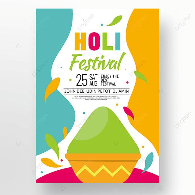 colorful cartoon holi festival holi festival poster