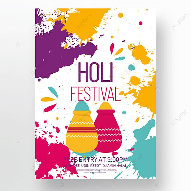 colorful splash holi festival holi poster