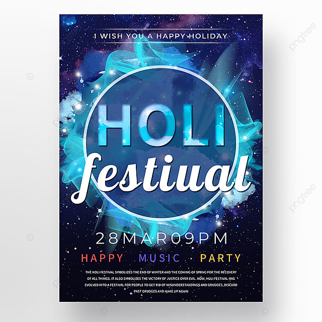 holi festival poster template with blue colorful splash ink