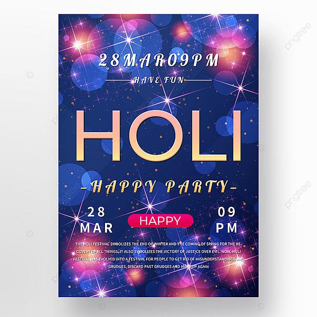 holi festival purple colorful light effect poster template