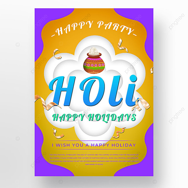 holi festival yellow colorful poster template