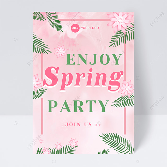 pink flower green leaf spring party flyer