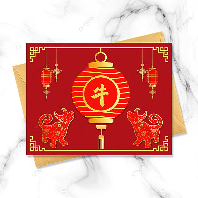 red simple 2021 year of the ox greeting card
