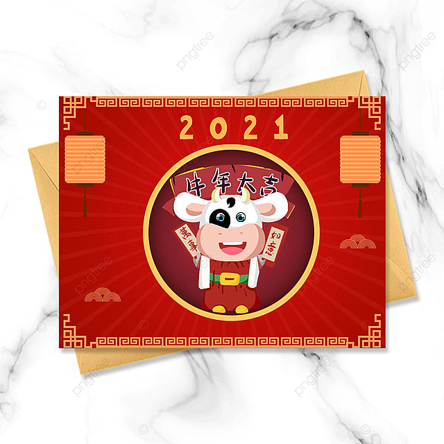 red traditional 2021 year of the ox chinese new year greeting card