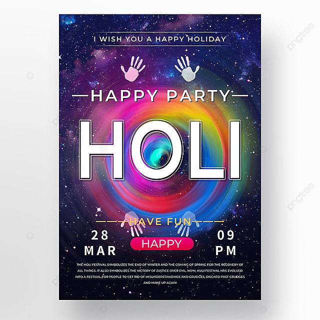 starry sky colorful holi festival holi poster template