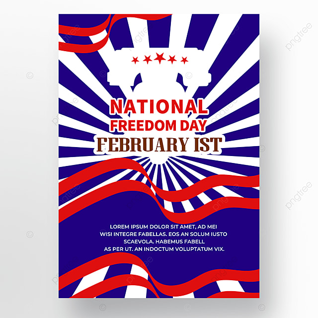 blue and red shading american freedom day poster