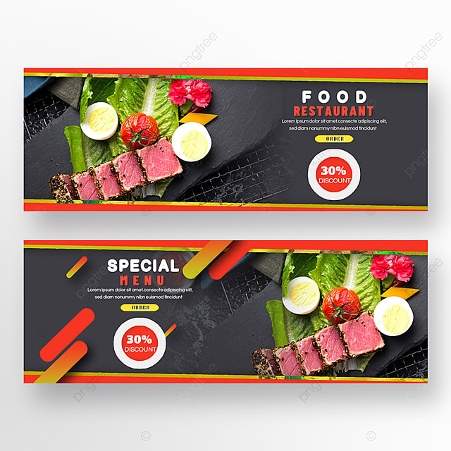 steak double sided restaurant food red and black geometry