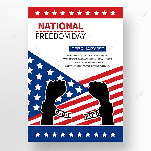 white blue red background american freedom day poster
