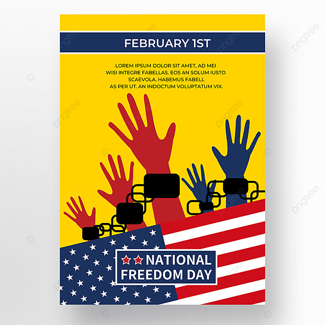 yellow background american flag poster