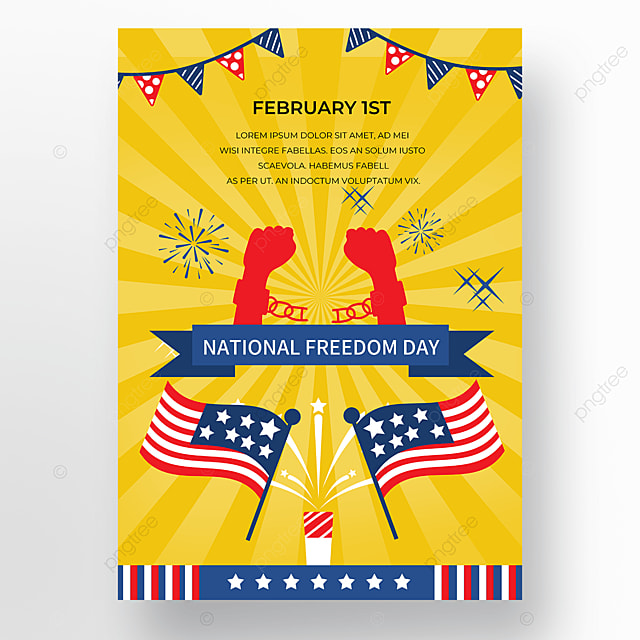 yellow shading american freedom day poster
