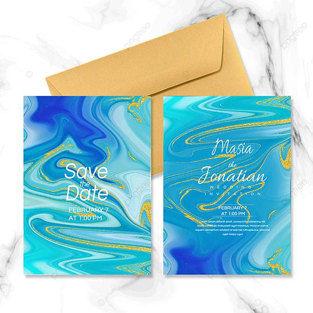 aqua blue fluid marble wedding invitation