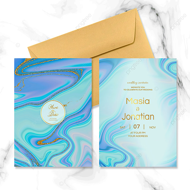 blue fluid marble wedding invitation