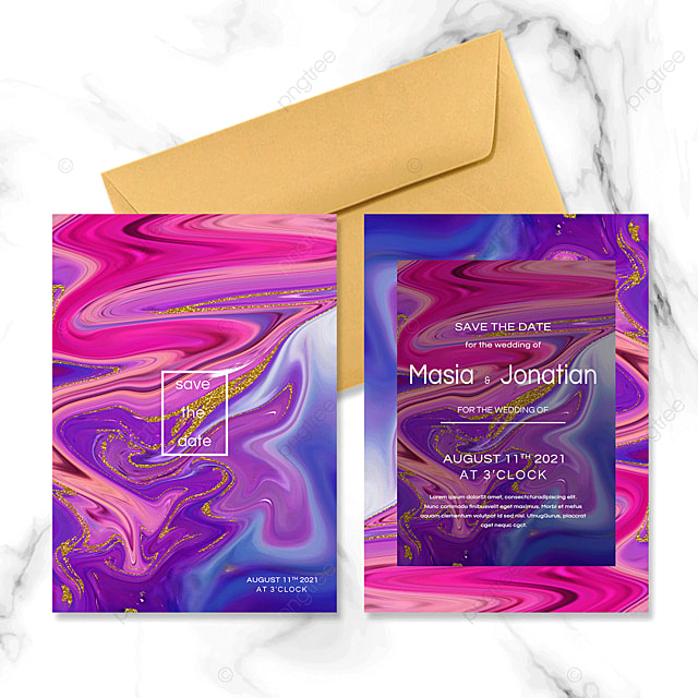 colorful abstract fluid wedding invitation