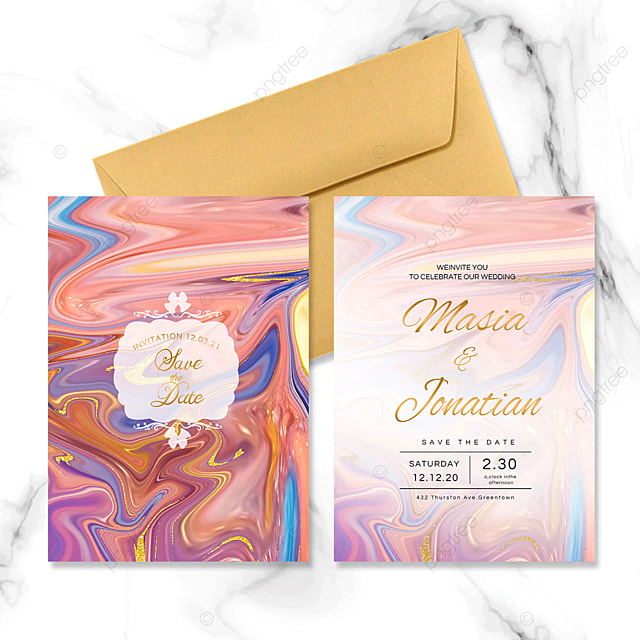 colorful abstract marble wedding invitation