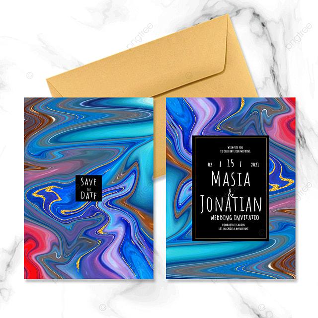 creative abstract fluid wedding invitation