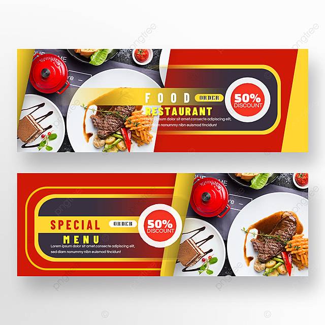 double sided restaurant food red and yellow geometric line