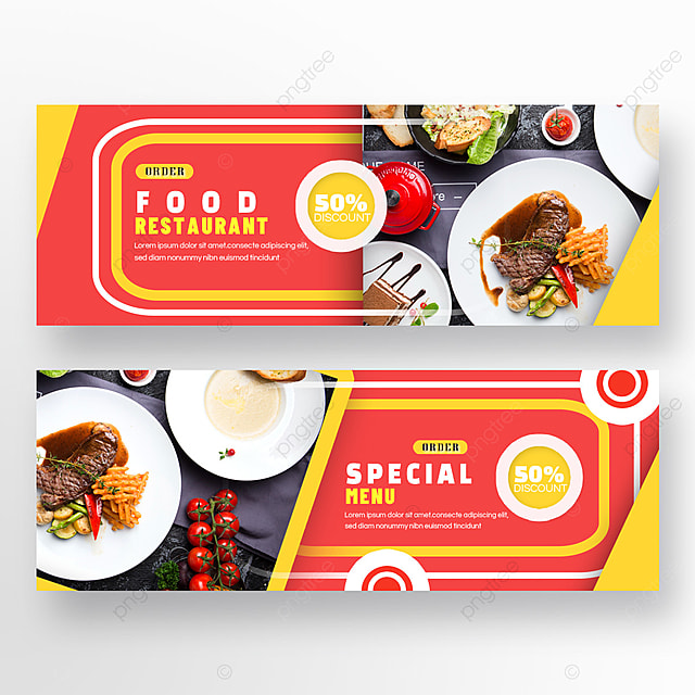 double sided restaurant food red and yellow geometry