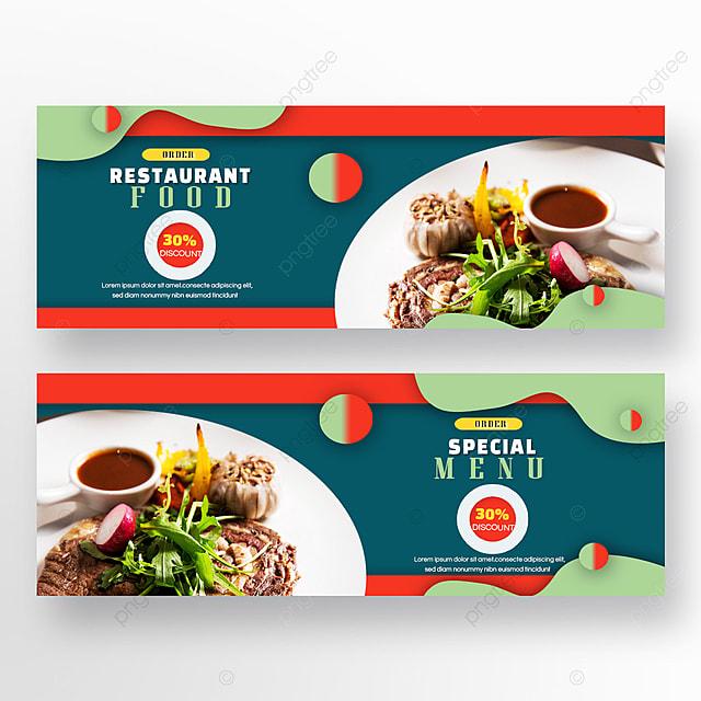 double sided restaurant food steak green red geometric