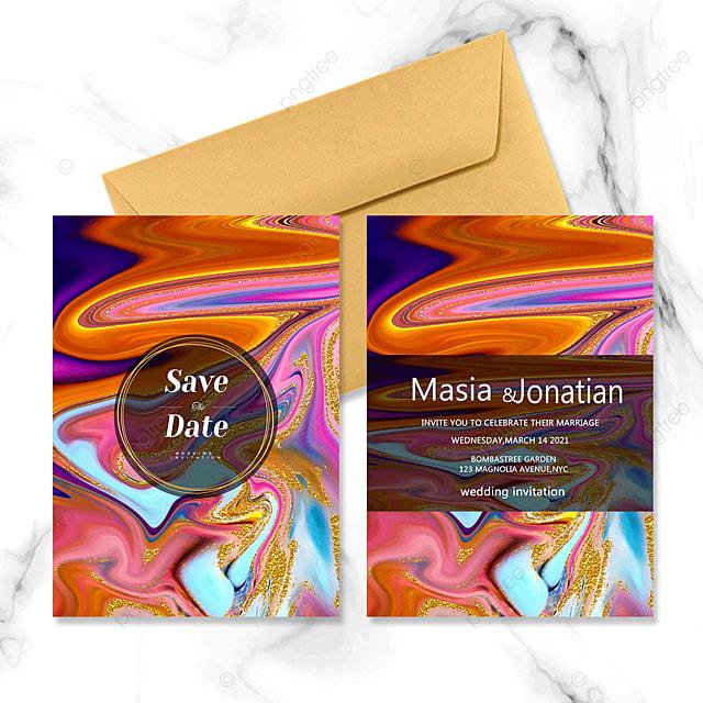 golden texture marble wedding invitation