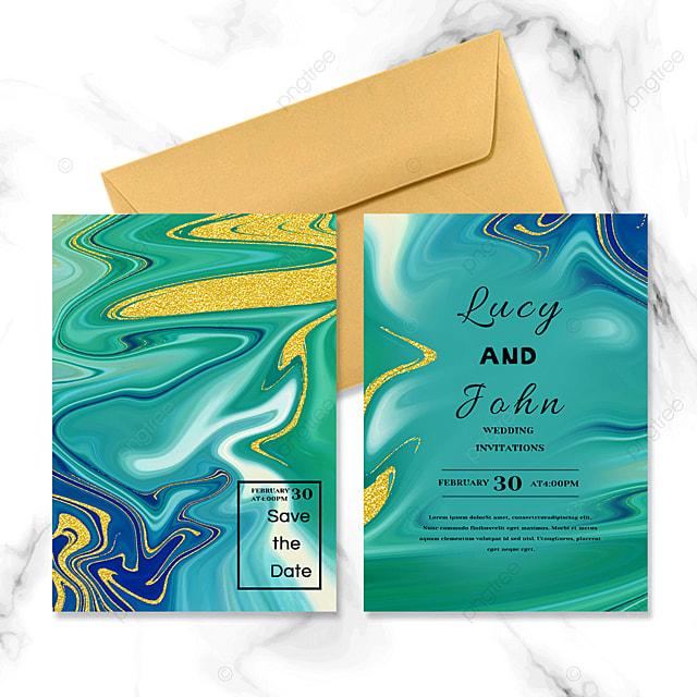 green abstract marble wedding invitation