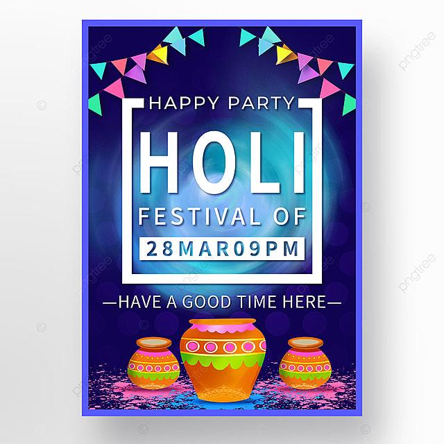 holi festival blue colorful festival poster template