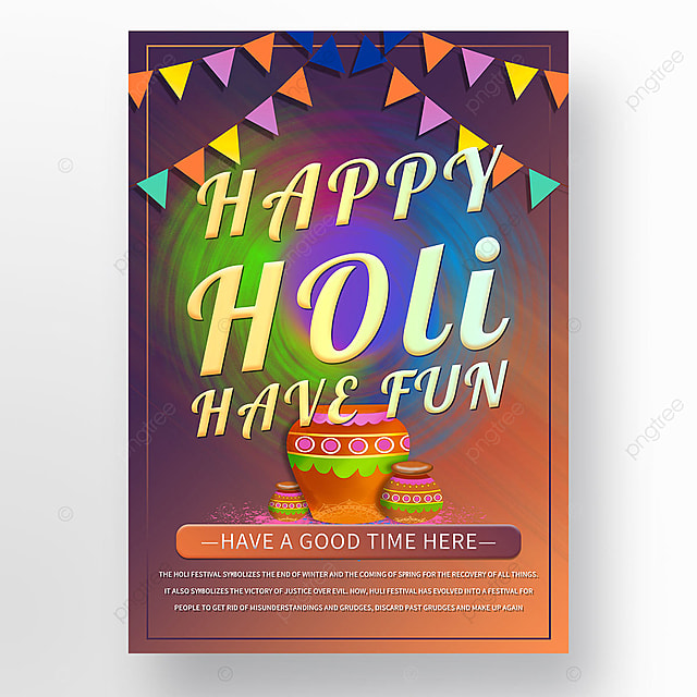 holi festival streamers colorful cool poster template